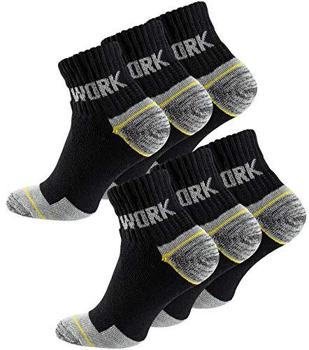 Cotton Prime 6 Paia calzini lavoro uomo rinforzati tallone e punta ideale per calzature Antinfortunistiche e/o scarponcini (43-46, calzini corti 6 paia)