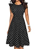 YATHON Women's Vintage Classic Black Dot Print Round Neck Wedding Guest Dress Fitted Swing A-Line Cocktail Party Dress with Ruffles Sleeve (M, YT001-Black Dot)