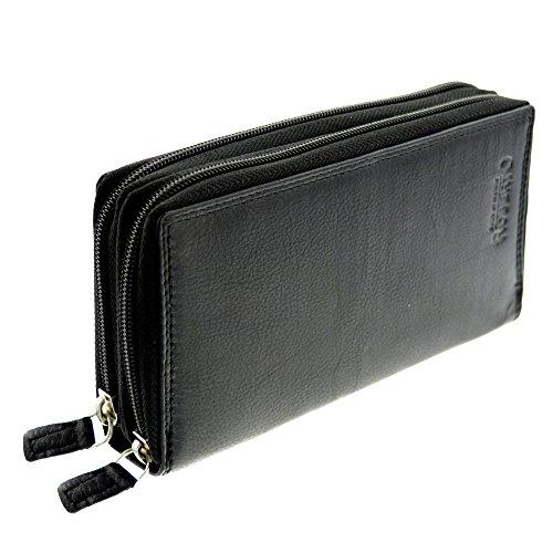 flevado Xl Portemonnaie Große Damen Wild Leder Geldbörse mit viel Stauraum und Platz für 22 Karten (schwarz glattleder)