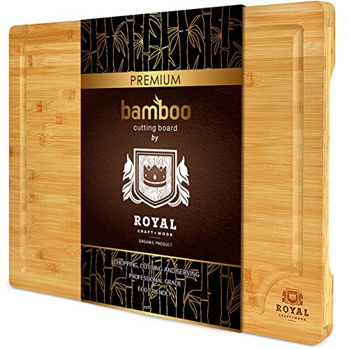 Bamboo Cutting Board with Juice Groove - Best Kitchen Chopping Board for Meat (Butcher Block) Cheese and Vegetables   Heavy Duty Serving Tray w/Handles (Medium,10 x 15')
