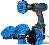 Cepillo de Taladro Eléctrico 4 Pieces, Cepillo Taladro Limpieza Kit Multifuncional Brocha para Limpiar Ba?o Piso Azulejo Esquinas Cocina Lechada Alfombra (Azul)