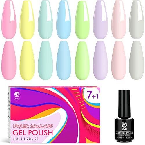 Joytii Gel Nail Polish, Nail Polish Set Nail Art SoakOffUVLED for Starter kit and Professional Nail Technician Kit, 8Pcs Nail Polish Professional Set, Popular Nail Art Colors