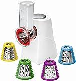 Multilatero eléctrico de acero inoxidable, 5 accesorios diferentes (rallador multiusos, rallador de cocina, rallador de...