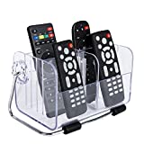 EKRON 1PC Multi-Purpose Transparent Acrylic Remote Stand Organizer/Dressing Table Organiser Mobile Phone Holder, 6 Slots Stand