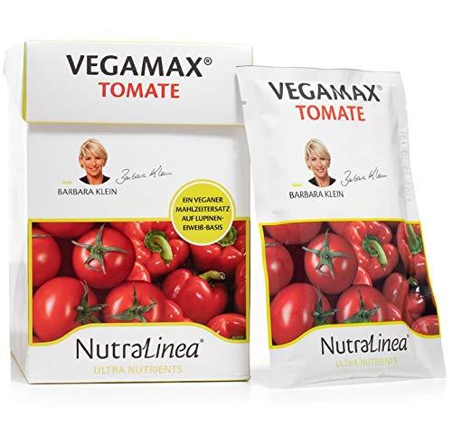NutraLinea VEGAMAX Vegane Mahlzeit auf Lupinen Eiweiß Basis als Suppe, Brei oder Getränk mit Vitaminen und Minearlstoffen, kalt oder warm 12er Box á 54g (Tomate)