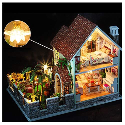 SYLTL DIY Puppenhaus, Zweistöckiges Loft Große Villa mit Led-leuchten Staubschutz Häuser für Minipuppen Geburtstag Weihnachts Geschenk das Gartenhaus,Cabin+dustcover