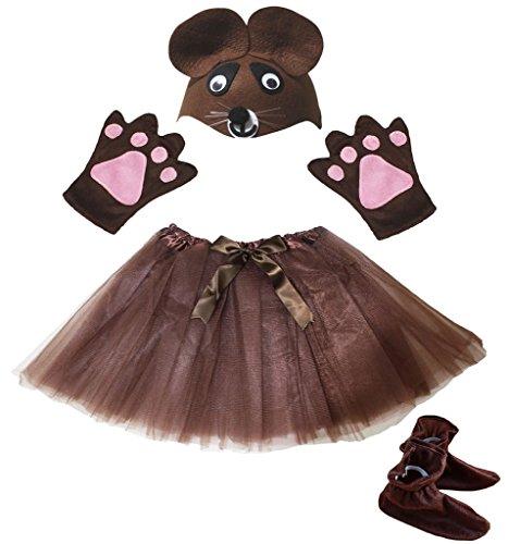 Petitebelle Gants Ours Chapeau Chaussures Jupe Fille Enfants 4pc Accessoires Costume Taille unique marron