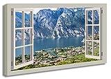 Ayra- Leinwandbild Wandbild Fensterblick Gardasee Berge See