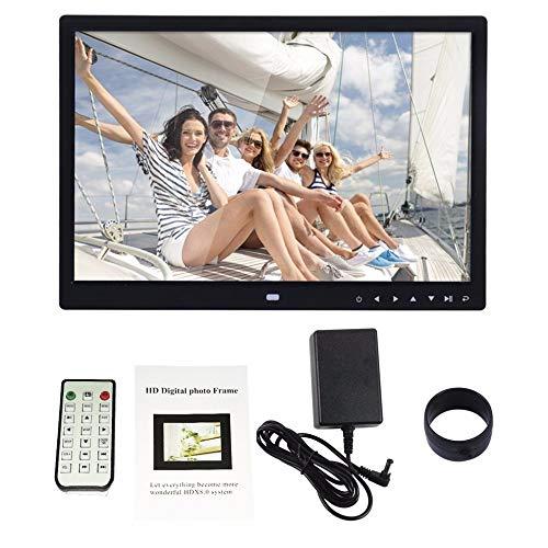 ZUEN Digitaler Bilderrahmen 15 '' Front Touch-Taste Multi-Language-LED-Bildschirm Mit Fernbedienung Für MP3 MP4 Video-Player,Schwarz