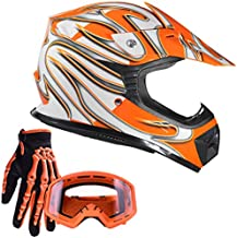 Typhoon Youth Kids Off Road Gear Combo Helmet Gloves and Goggles - Orange (Small)