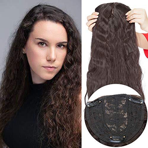 50cm Clip in Extensions Haarteil Topper Toupet Corn Wavy wie Echthaar Perücken mit 3 Clips für Frauen Gewellt Dunkelbraun 20
