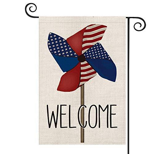 UPNOW Patriotische Begrüßung Windrad amerikanische Flagge Gartenflagge doppelseitig 4. Juli Gedenktag Unabhängigkeitstag Hof Außendekoration