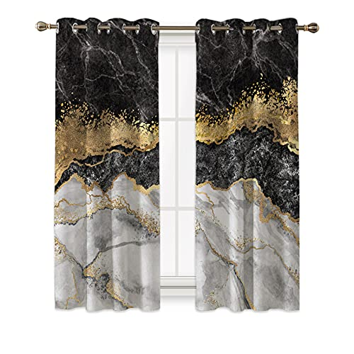 DUISE Black Marble Curtain,Black and Grey Marble Window Drapes Blackout Men Teens Boys Modern Gray Orange Abstract Art Print Window Treatments Young Man Gothic White Gold Marble Curtain Panels