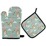 TropicalLife ADMustwin - Juego de guantes para horno y soporte para ollas, diseño de erizo, pájaro, corazón, amor, nube, con lazo para colgar, forro de algodón, juego de 2 unidades