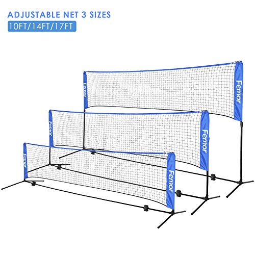 femor Portable Badminton Volleyball Tennis Net - 10/14/17 ft Net for Soccer Tennis, Pickleball, Kids Volleyball, Beach Ball - Sports Net with Poles & Carrying Bag for Indoor, Outdoor, Beach, Backyard