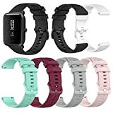 6-Pack Silicone Bands Compatible with <span class='highlight'><span class='highlight'>YAMAY</span></span> SW020 SW021 SW023 ID205L ID205U ID205S Smart Watch Band, Replacement Quick Release Soft Silicone Bands for Women