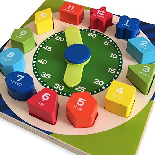 Reloj de madera con forma de clasificación, juguete para enseñar el tiempo, número y formas, de madera, multisensorial, regalo educativo para niños de 18 meses + 2, 3, 4, 5 años