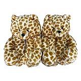 Plush Teddy Bear Slippers Fluffy Home Indoor Slipper Anti-Slip Faux Fur Cute Cartoon Soft Warm Winter House Floor Thicken Shoes (Light Leopard Color)