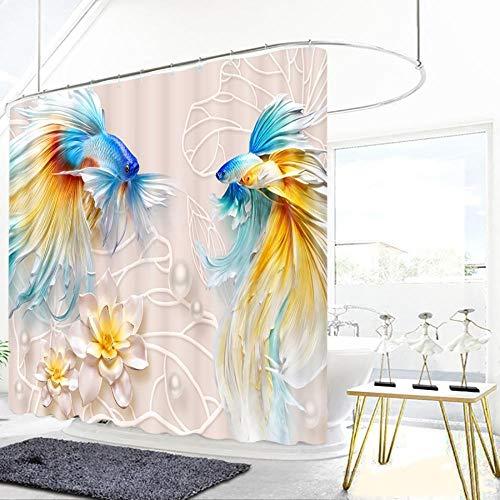 Goudvis bloemenontlastingspatroon douchegordijnen landschap badkamer gordijn verdikt waterdicht verdikt badkamergordijn
