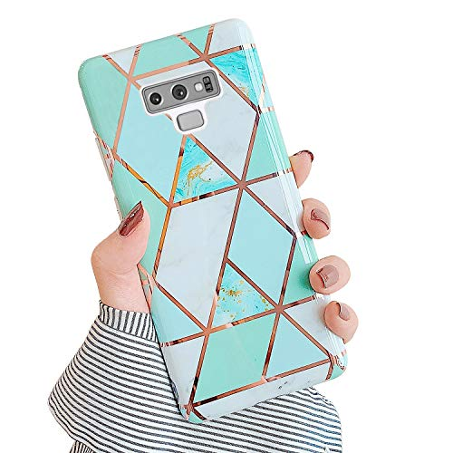 QPOLLY Handyhülle kompatibel mit Samsung Galaxy Note 9 Hülle Marmor Grün Glänzend Glitzer Bling Shiny Ultra Dünn Weich Silikon Schutzhülle Stoßfest Bumper Hülle Tasche Case,Marble#2