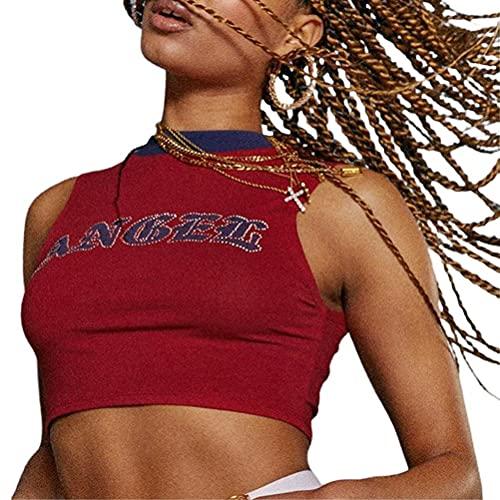 FreshWater Camiseta sin mangas de ajuste ajustado, estampado de letras para mujer, chaleco deportivo para yoga, chaleco sin mangas de verano para entrenamiento
