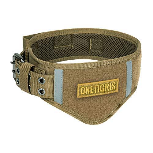 OneTigris Verstellbare Hundehalsband Weiches Hundehalsband für Hunde |MEHRWEG Verpackung (L, Coyote Braun)