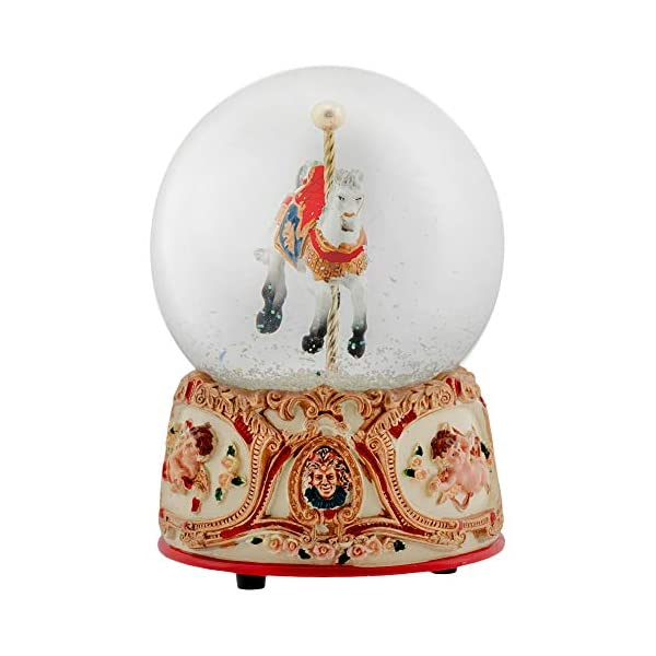 Elanze Designs Gilded Gold Tone Cupid and Carousel Horse 100MM Musical Water Globe Plays Tune Unchained Melody 6