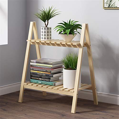 AWX Flower standaard voor planten, hout, 2 niveaus, houder voor planten, van hout, met standaard voor tuintafel, voor buitengebruik, 50 x 30 x 60,5 cm