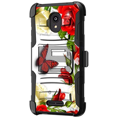 TurtleArmor | Kompatibel mit Alcatel Insight Hülle | Alcatel TCL A1 Hülle [Hyper Shock] Fitted Armor Holster Gürtelclip Hybrid Cover Stand Shock Schutzhülle - Butterfly Roses
