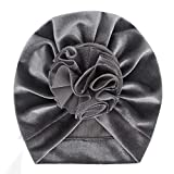 HOT1950s Baby Hat, Baby Flower Hat Velvet Fashion Hat Girl Boys Fashion Hats Cute Hat (Gray)