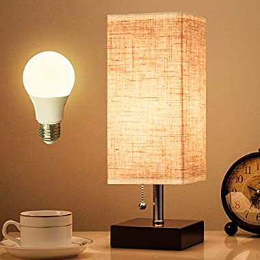 Lifeholder Table Lamp, Nightstand Lamp with USB Charging Port and Warm White Led Bulb, Wooden Claret Base Beside lamp, Modern USB Lamp Perfect for Bedroom, Living Room, or Office