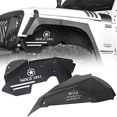 Hooke Road Front & Rear Inner Fender Liners Kit for 2007-2018 Jeep Wrangler JK & Unlimited 2/4 Doors
