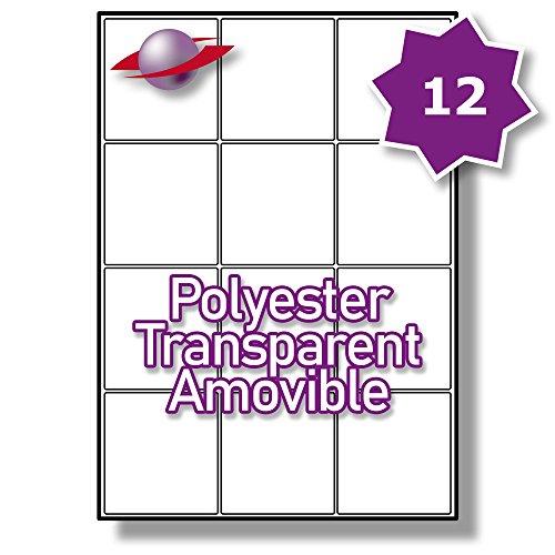 12 Par Feuille, 250 Feuilles, 3000 Étiquettes. Label Planet® A4 polyester transparent Étiquettes amovibles pour imprimantes laser 63.5 x 72mm, LP12/63 GTR.