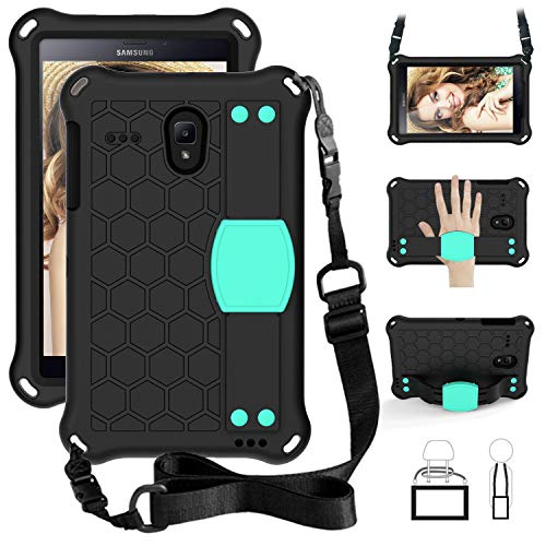ZORSOME Tablet Case, for Samsung Galaxy Tab 8.0' SM-T330/T375/T377/T380/T385/T387 Case, Drop Proof Shockproof Cover Case with Strap,Honeycomb Design (Color : Purple+Aqua)