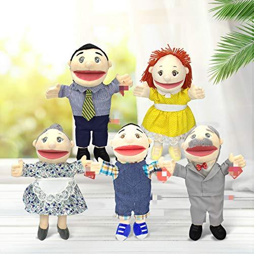 YXYL Handpuppen 5 Stück / Set 30 cm Family Open Mouth Puppet Neue Kindergarten Show Mama und Papa Bauchredner, um eine Geschichte zu erzählen Puppe Rollenspiel Handpuppe Handspielpuppe