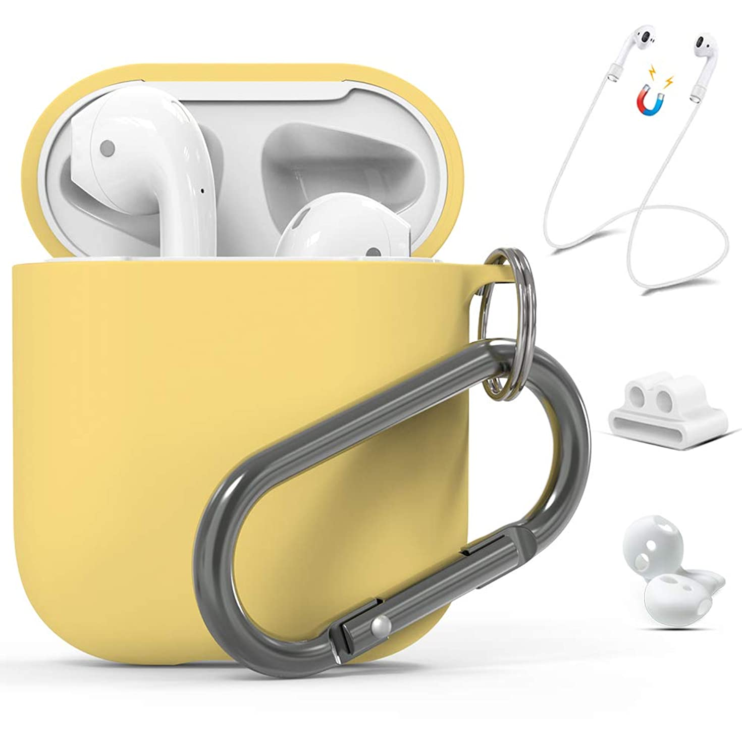 Yellow AirPods Case Silicone Protective Hard Cover Skin for Apple Airpods 1 & 2 Charging Case, 5in1 Accessories Carabiner/Strap/Earhooks/Watch Band Holder by KINGXBAR