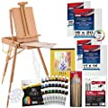 """U.S. Art Supply 63 Piece Oil Artist Painting Kit with Wood French Easel, 24 Oil Paint Colors, 2-16""""x20"""" & 2-11""""x14"""" Stretched Canvases, 25 - Paint Brushes, Palette Knife Set, 10-Well Palette"""