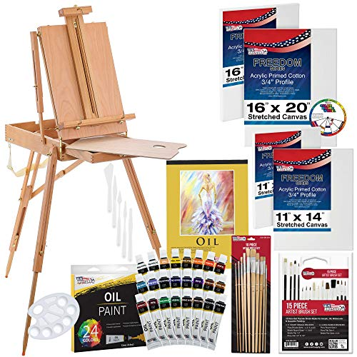 U.S. Art Supply 63 Piece Oil Artist Painting Kit with Wood French Easel, 24 Oil Paint Colors, 2-16'x20' & 2-11'x14' Stretched Canvases, 25 - Paint Brushes, Palette Knife Set, 10-Well Palette