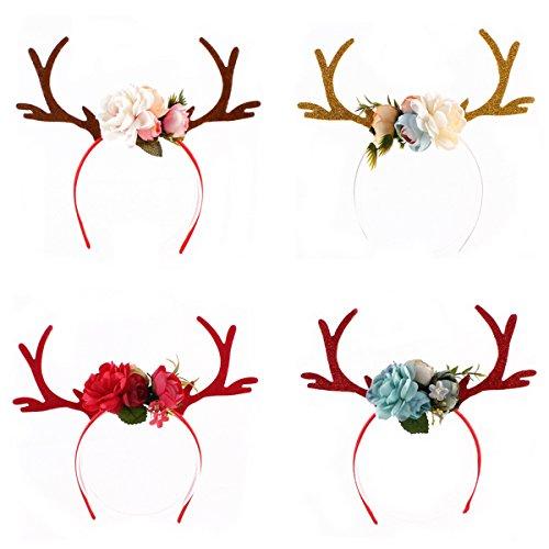 OULII 4PCS Natale Cerchietto Corna Di Renna con fiori bambini party costume capelli fascia per capelli decorazioni addobbi natalizi
