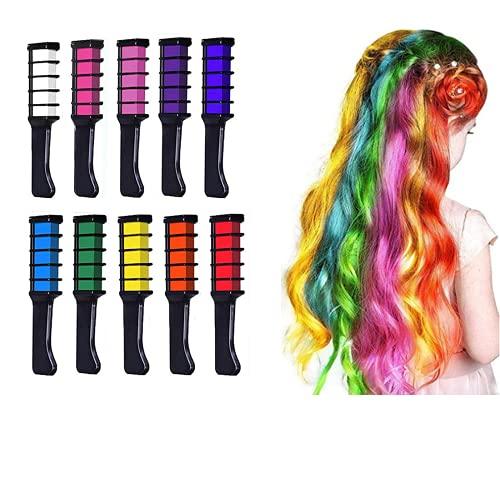 Haarkreide für Kinder,Haarfarbe Kamm Auswaschbar,HOINCO 10 Farbe Halloween, Party, Cosplay, Weihnachten, Geburtstagsgeschenk für Mädchen