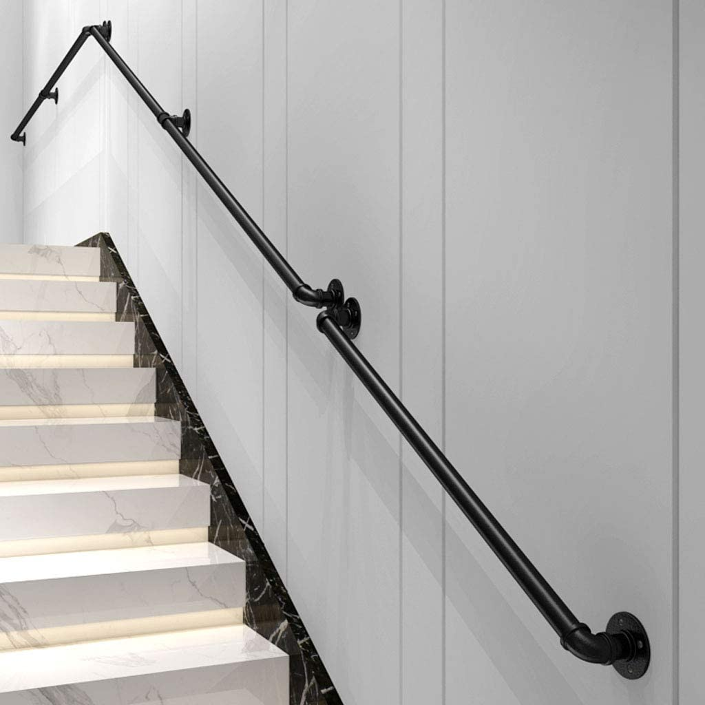 Industrial Wrought Iron Stair Railing OFFicial site Popular Matte Indo Non-Slip Black