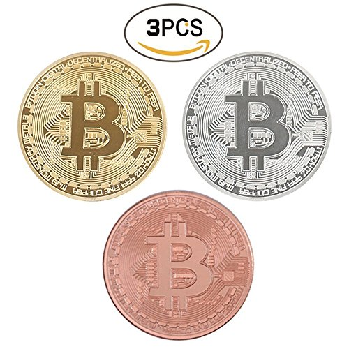 Bitcoin Coins Round Coin Commemorative Coins Metal Gold, Silver, Copper Plated Coin in Protective Collectable Gift Case (3 pcs)