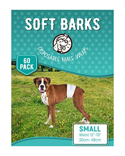 Pet Soft Disposable Male Wrap Dog Diapers Simple and Convenient, 60 Count (Small 60ct)