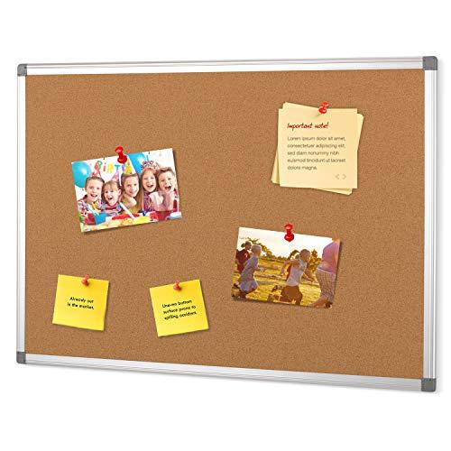 Swansea Prikbord met aluminium frame voor notities, foto's, ophanging - woning, kantoor, keuken en school 60x45cm whiteboard en prikbord vilt