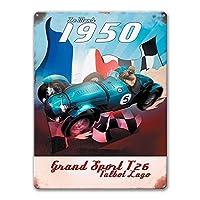 Talbot T26 1950サイン、男性用ガレージギフトヴィンテージカーティンサインメタルデコレーションバーマンケーブウォールアート16 x12インチ