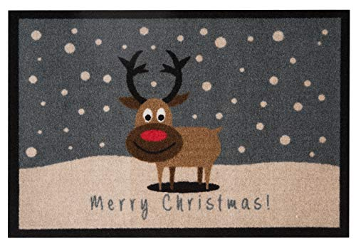 Hanse Home Fußmatte Schmutzfangmatte Merry Christmas Rentier Grau, 40x60 cm