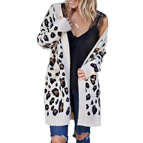 Fansu Otoño Invierno Leopardo Cardigan Punto Mujer, Casual Cálido Chaqueta de Manga Larga Suelto Frente Abierto Abrigos Cárdigans Con El Bolsillo (L,Blanco)