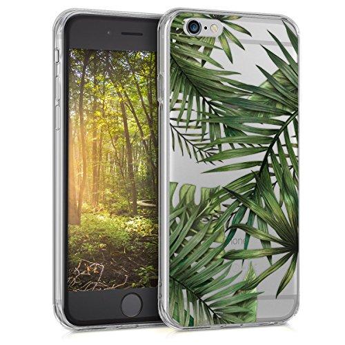 kwmobile Custodia Compatibile con Apple iPhone 6 / 6S - Cover Silicone TPU - Protezione Back Case - Palme Verde/Trasparente