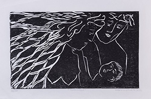 "Maternity, Motherhood, Mother´s day, black friday, Chrsitmas gifts, Xilography art prints, woodblock print, handmade, Costa Rica, home decor, 13"" x 8.5"" Christmas gifts, Sabrina Vargas-Jimenez Family"