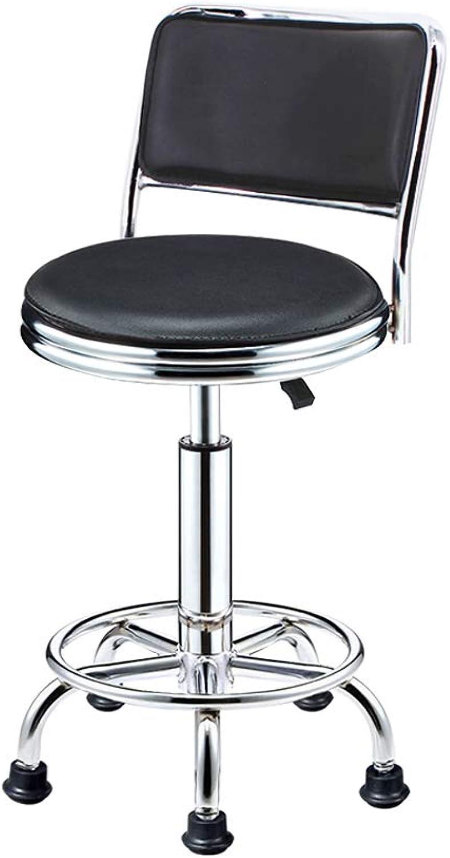 Leather Bar Stools Kitchen Bar Stools Breakfast Bar Stool with Back-L40H42-55  28CM (color   Black)